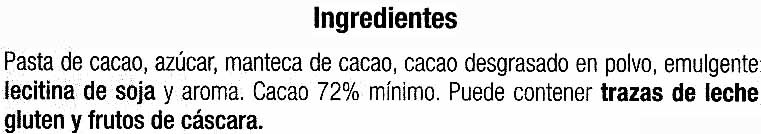 Tableta de chocolate negro 72% cacao - Ingredients - es