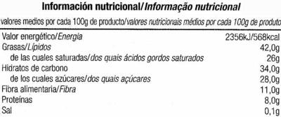 Tableta de chocolate negro 72% cacao - Nutrition facts