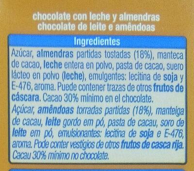 Chocolate extrafino con leche con almendras - Ingredientes