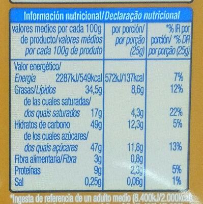 Chocolate extrafino con leche con almendras - Información nutricional