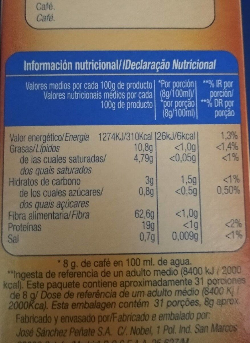Cafe molido Natural - Informations nutritionnelles - es