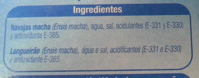 navajas - Ingrédients - es