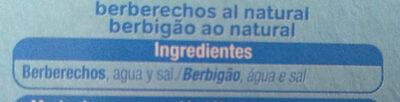 Berberechos al natural - Ingredientes - es