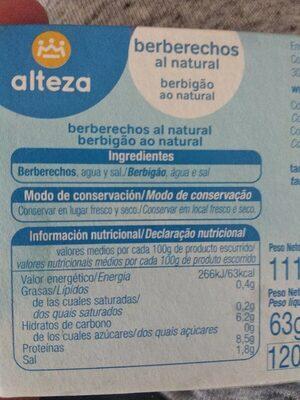 Berberechos al natural - Información nutricional - es