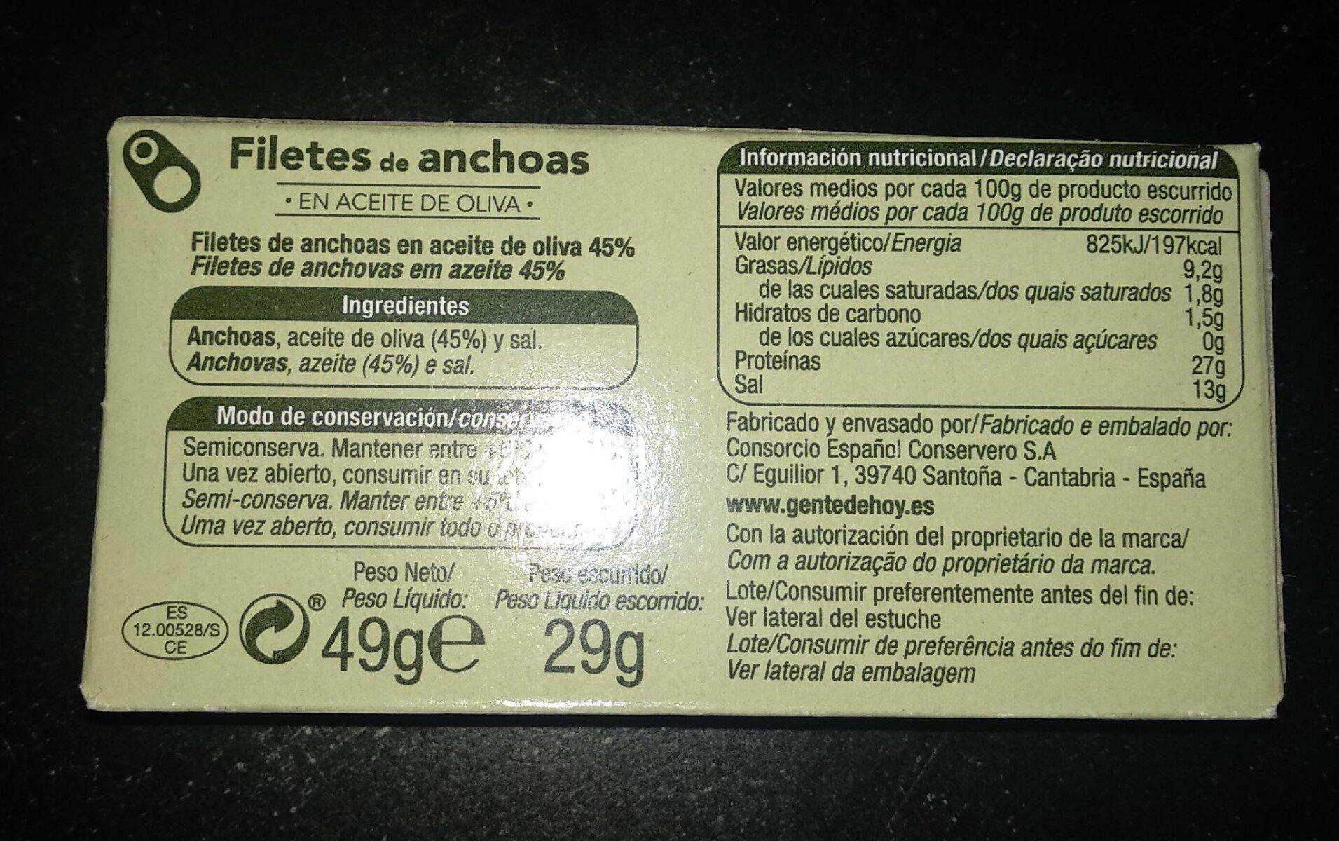 Filetes de anchoas - Información nutricional