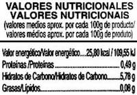 Zanahorias entera agridulce - Informations nutritionnelles - es