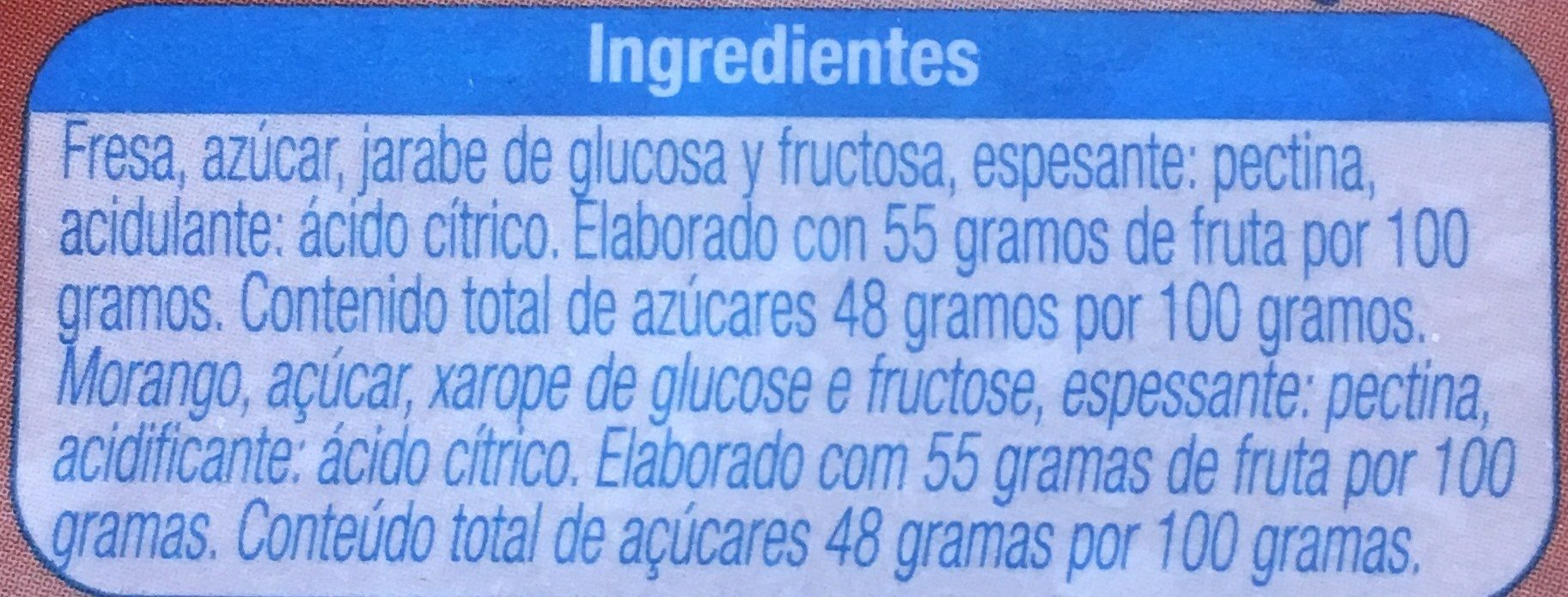 Mermelada de fresa - Ingredients