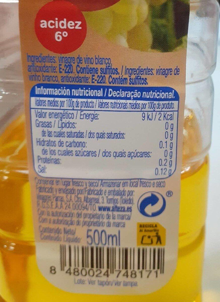 Vinagre de vino blanco - Información nutricional - es