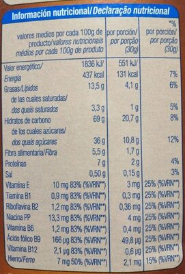 Cereales rellenos de chocolate - Informació nutricional - es