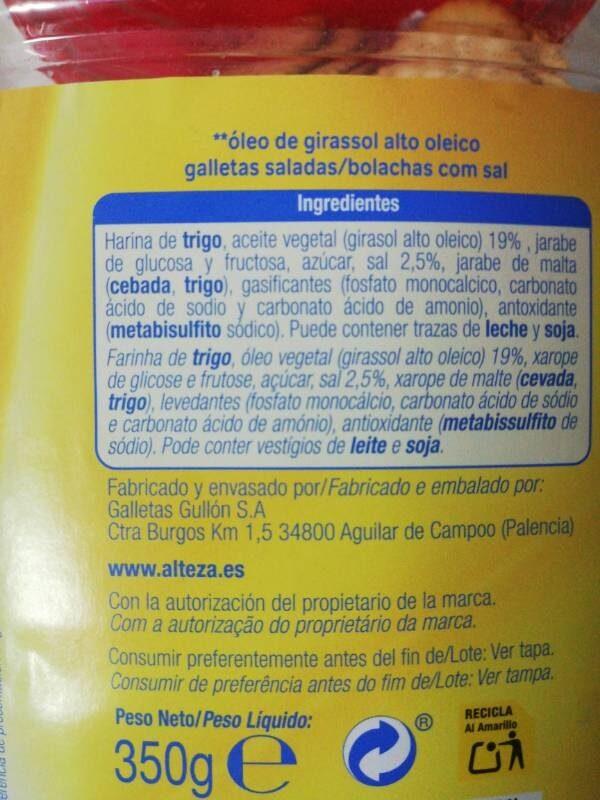 Galletas redondas saladas - Ingredients - es