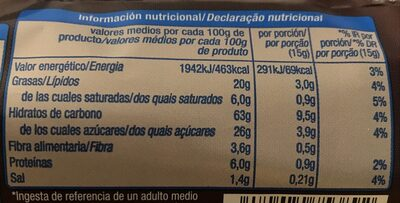 Galleta digestive chocolate con leche - Nutrition facts - es