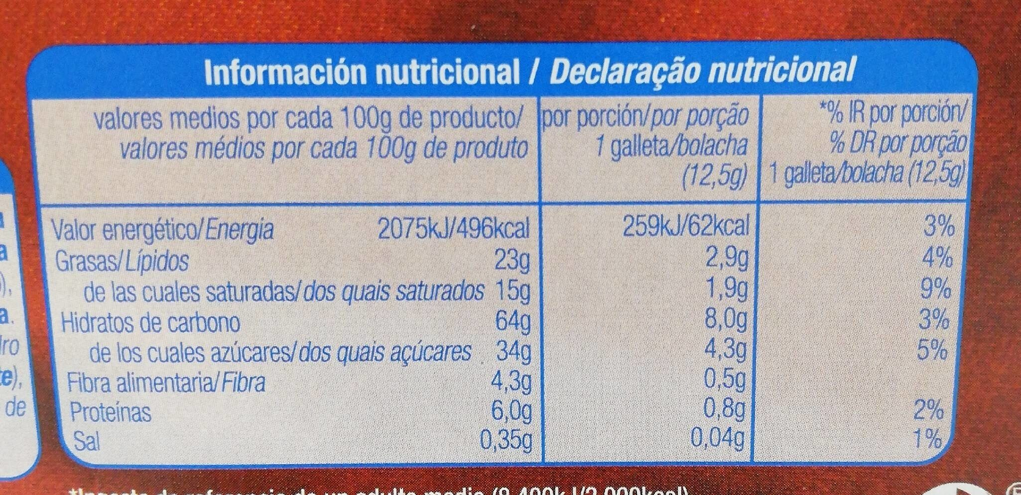 Galleta con Chocolate Negro - Nutrition facts - es