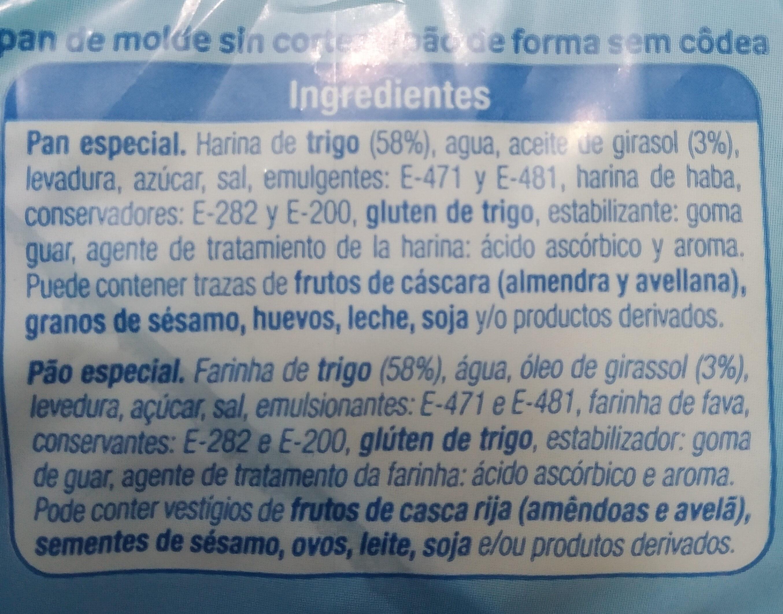Pan de molde 450 gr. - Ingredientes - es