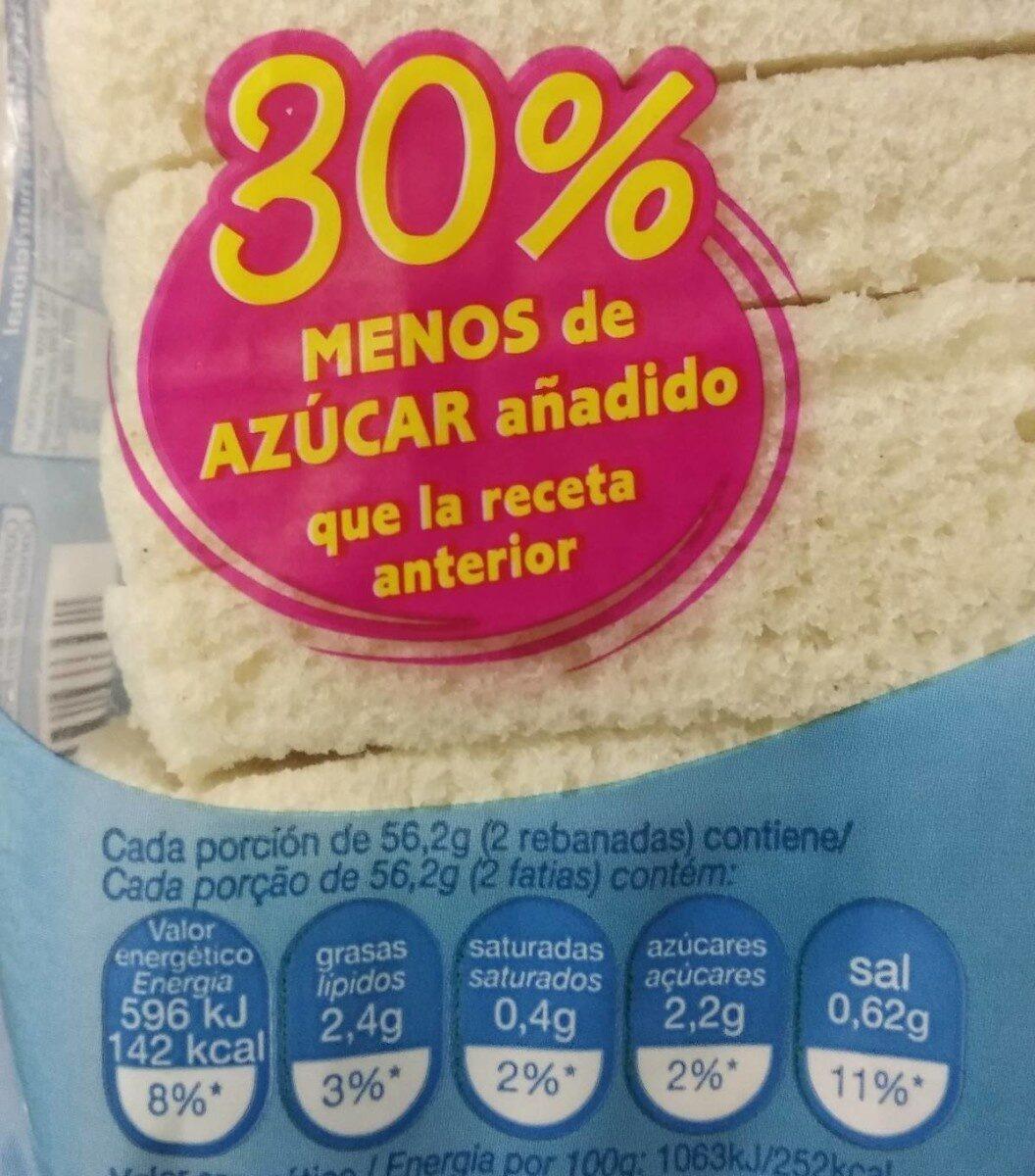Pan de molde 450 gr. - Información nutricional - es