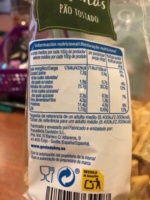 Regañas - Valori nutrizionali - es