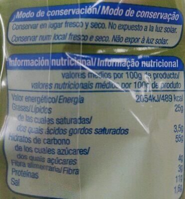 Barritas con queso - Nutrition facts