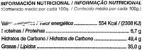 """Patatas fritas onduladas """"Alteza"""" - Información nutricional"""