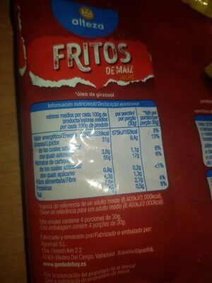 Fritos alteza - Nutrition facts - es