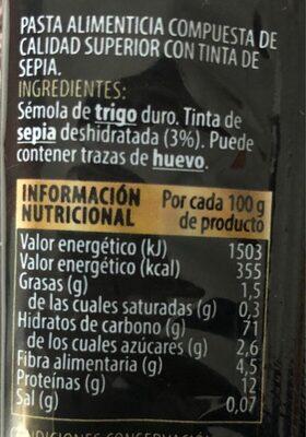 Spaghetti al nero di seppia - Información nutricional