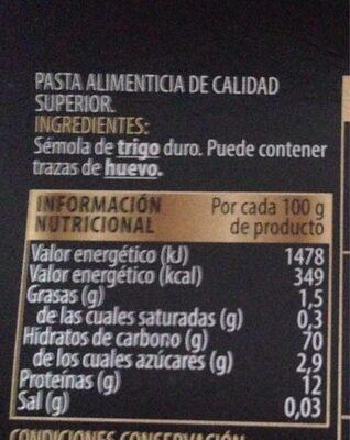 Tagliatelle - Información nutricional