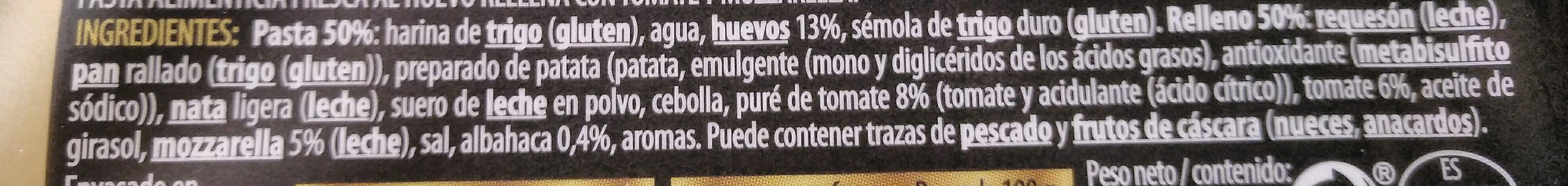 Pasta Fresca Girasoli Tomate y Mozzarella - Ingredients - es