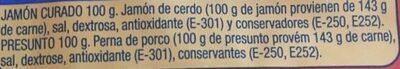 Taquitos de jamón curado - Ingredients - es