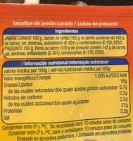 Taquitos de jamón curado - Informació nutricional - es