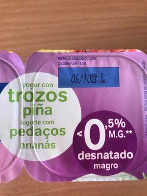 Yogur con trozos pina