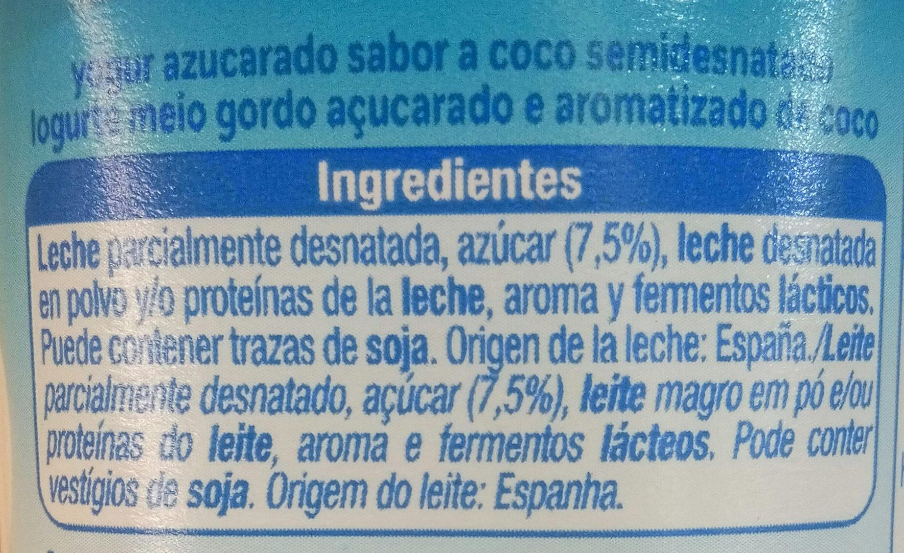 Yogur sabor coco - Ingredientes - es