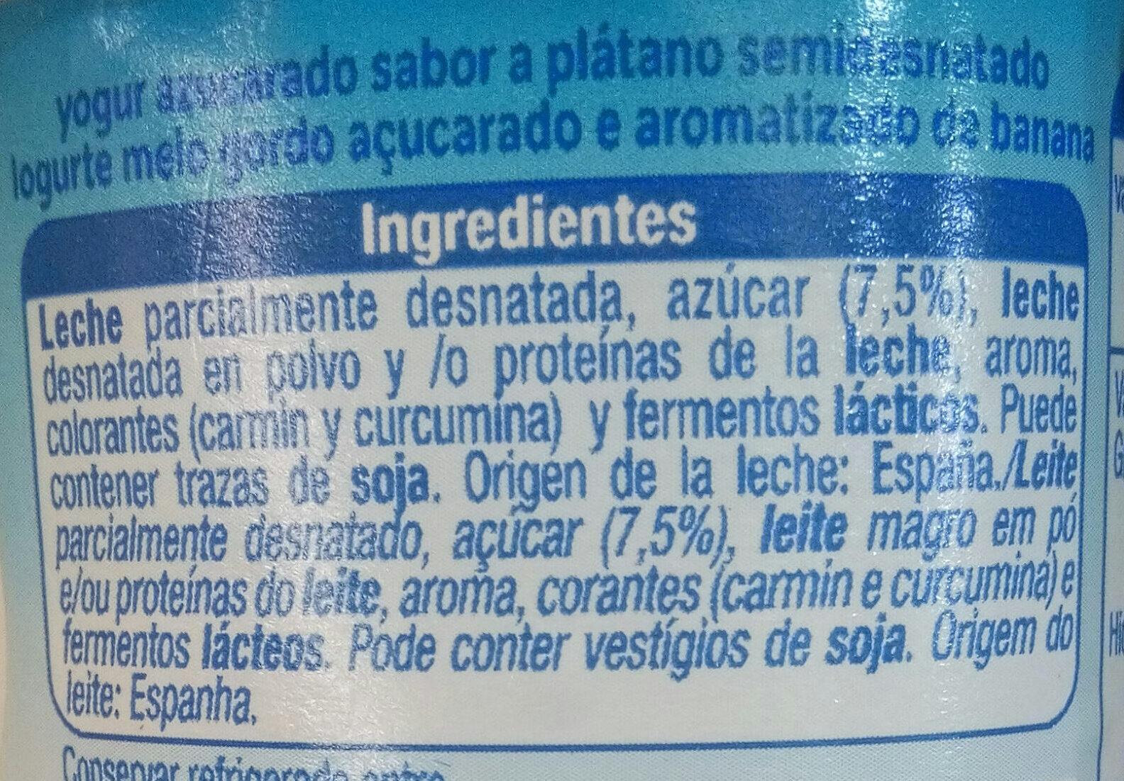 Yogur platano - Ingredientes - es