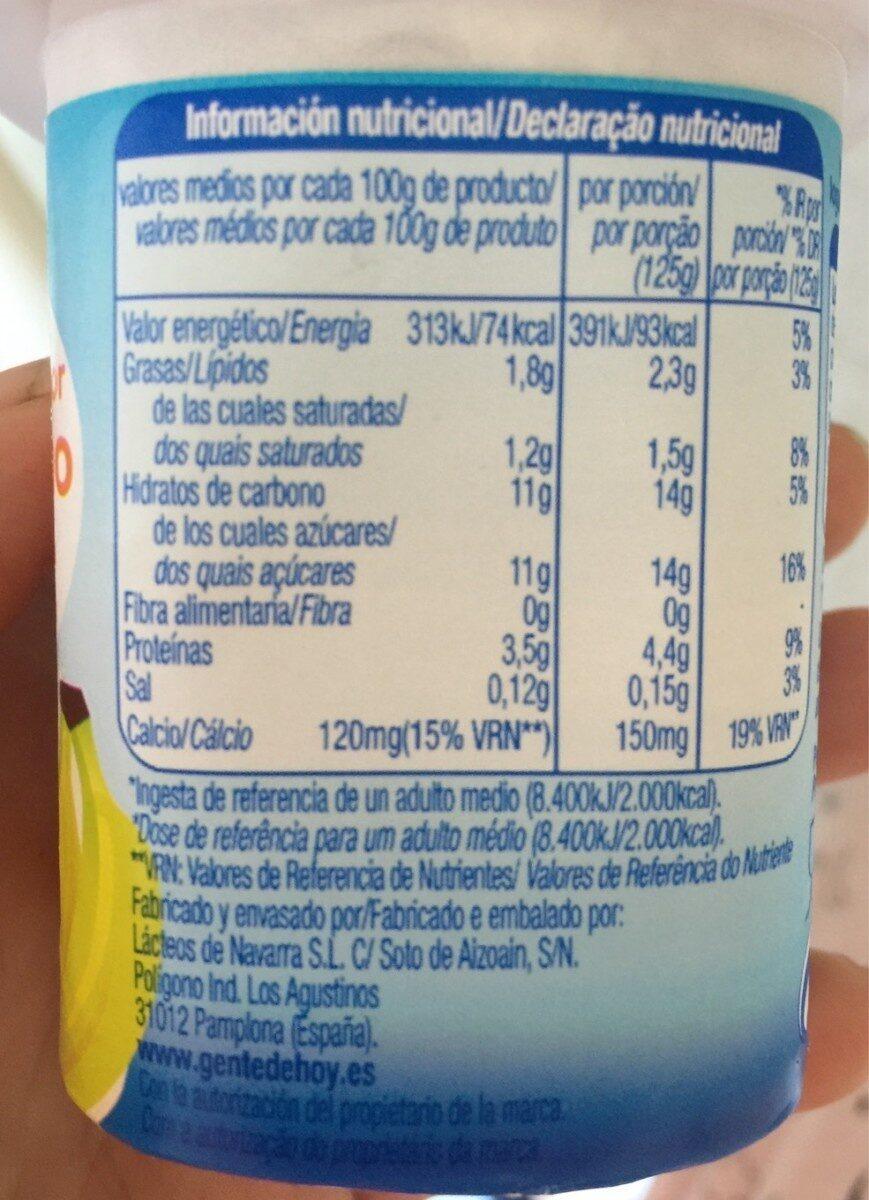 Yogur platano - Información nutricional - es
