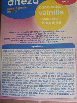 Cono sabor vainilla sin azúcares - Ingredients
