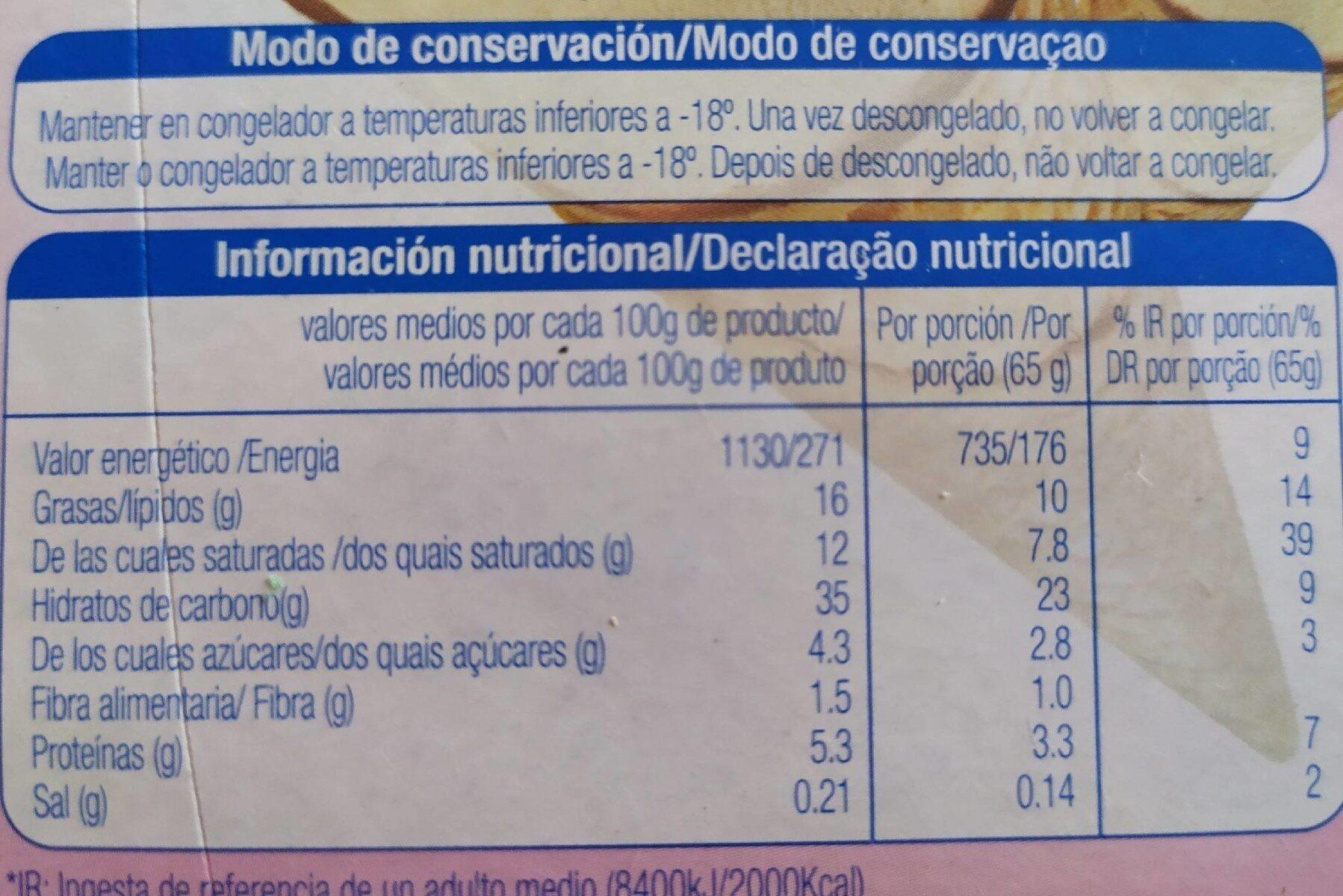 Cono sabor vainilla sin azúcares - Informació nutricional