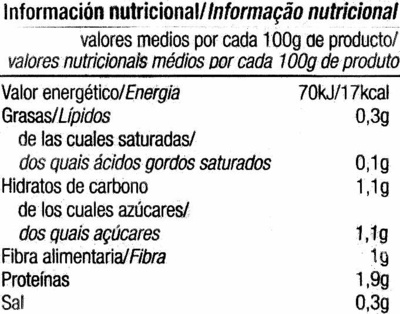 Acelgas troceadas - Información nutricional - es
