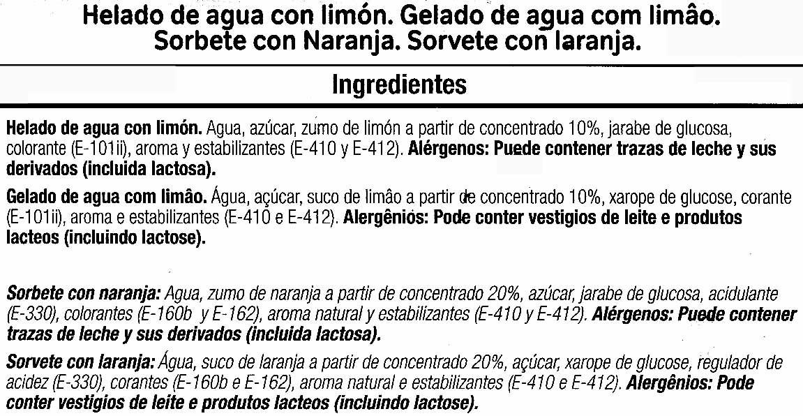 """Helados de hielo """"Alteza"""" Limón y naranja - Ingrediënten - es"""