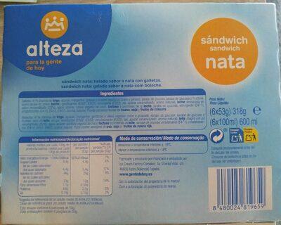 Sandwich de nata - Informació nutricional - es