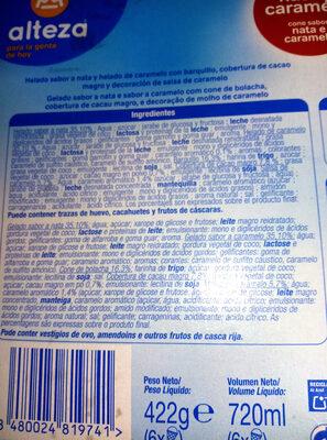 Cono sabor nata y caramelo - Ingredients