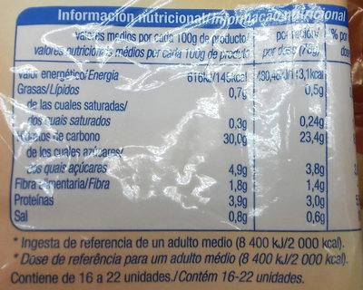Churros lazo - Informació nutricional