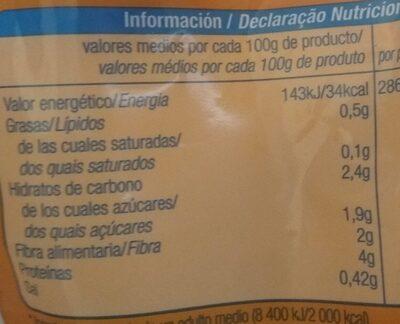 Salteado gambas, ajetes y trigueros - Información nutricional