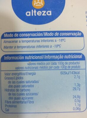 Helado de limón - Informació nutricional