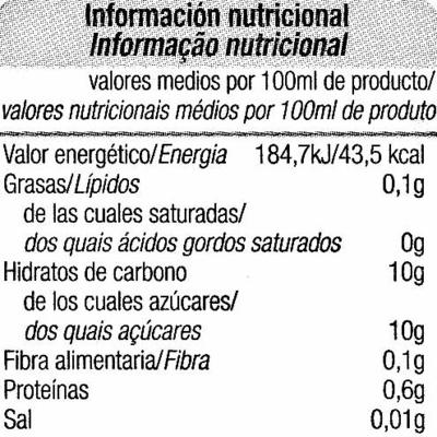 """Zumo de naranja exprimida refrigerado sin pulpa """"Alteza"""" - Informació nutricional"""