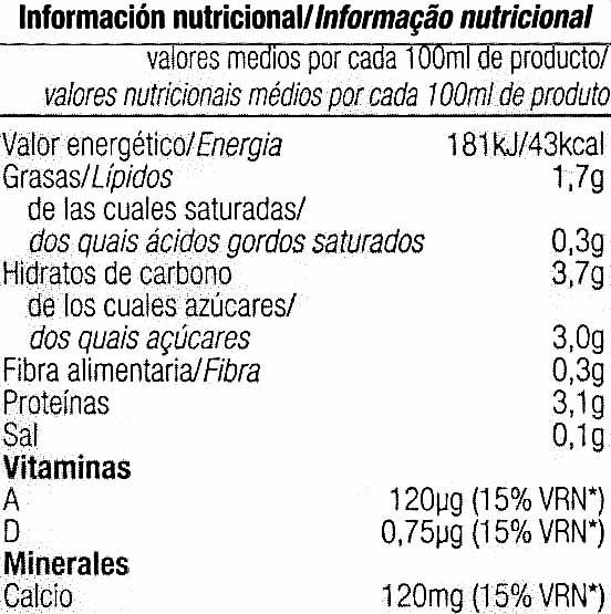 Bebida soja - Nutrition facts - es