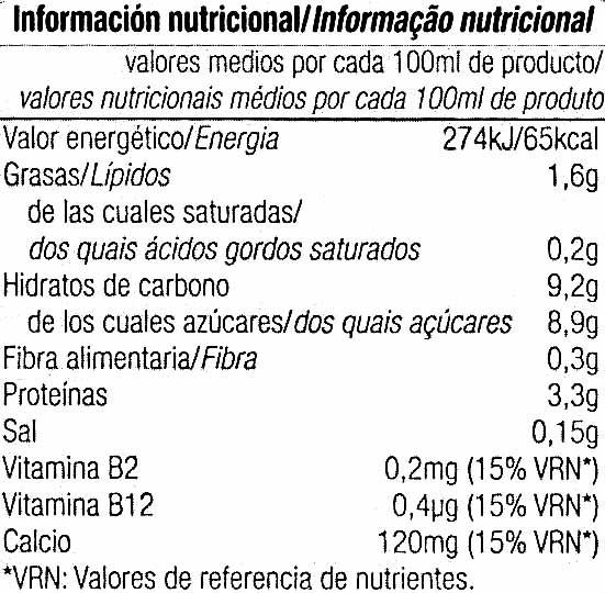 Bebida de soja sabor vainilla - Nutrition facts - es