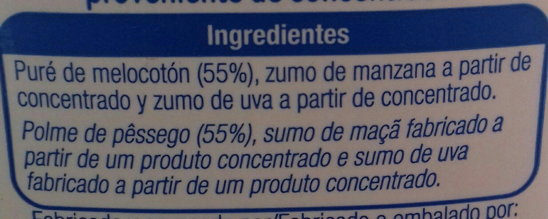 Zumo de melocotón,  manzana y uva - Ingrédients - fr