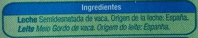 Leche semi destanada - Ingredientes - es