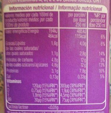 Leche semi desnatada sin lactosa - Voedingswaarden