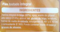 Pan tostado integral - Ingredientes - es