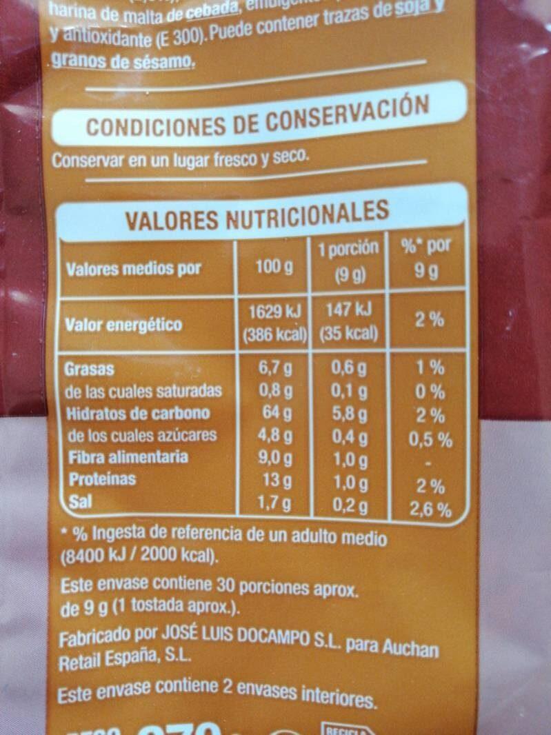 Pan tostado integral - Información nutricional - es