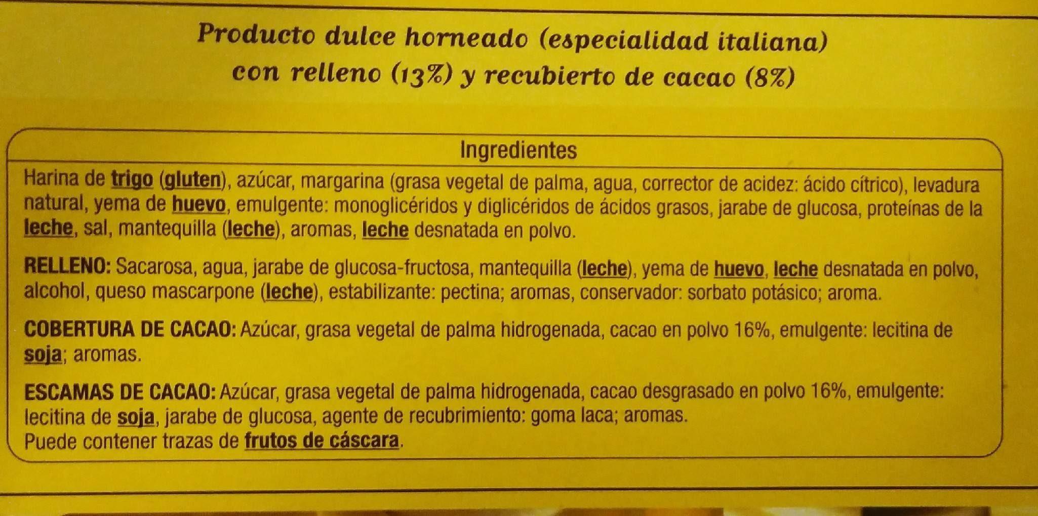 Panettone con Crema de Tiramisú - Ingredientes
