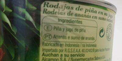 Piña rodajas en su jugo - Ingrédients - es